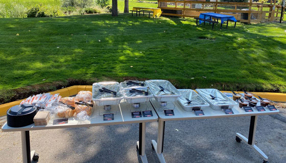 BBQ catering set up at a park from Brothers BBQ Colorado