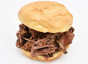 Brothers BBQ Colorado offers a popular beef brisket sandwich