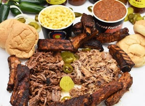 ordering bbq on game day includes meat, tofu, sides Brothers BBQ Colorado