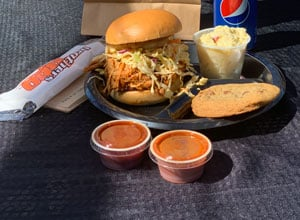bagged lunch options with sandwich side and cookie Brothers BBQ Colorado