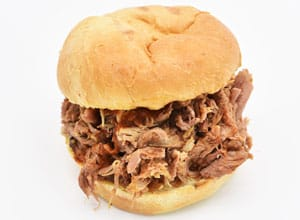 pulled pork sandwich from Brothers BBQ Colorado