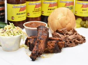 rib and meat special comes with two sides Brothers BBQ Colorado