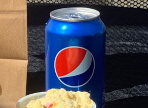 can of Pepsi with potato salad Brothers BBQ Colorado
