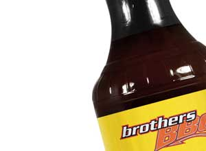 close up of Brothers bbq sauce bottle Brothers BBQ Colorado