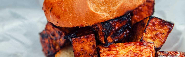 close up of tofu bbq sandwich Brothers BBQ Colorado