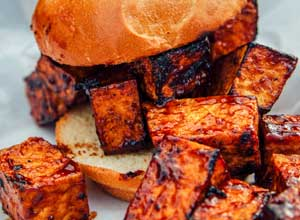 tofu bbq sandwich popular with vegetarians at Brothers BBQ Colorado